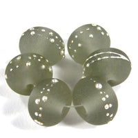 Handmade Lampwork Glass Beads, Transparent Gray Silver Etched 048efs