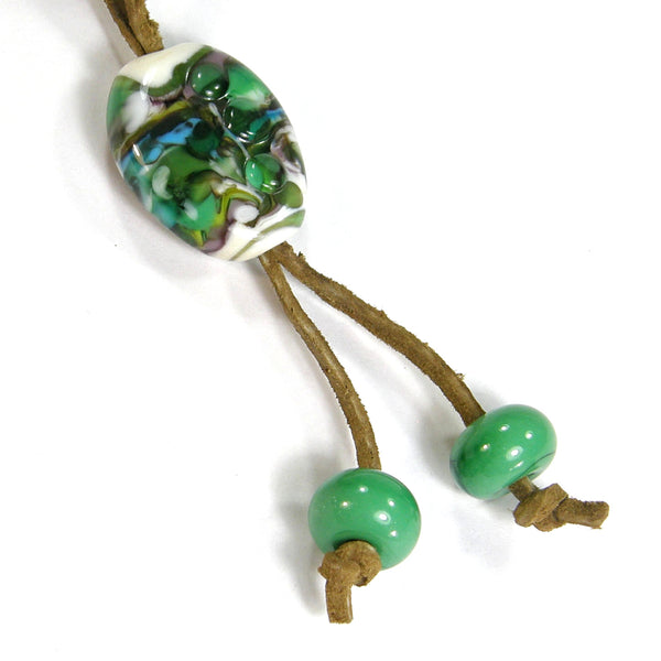 Green Blue Black White Lampwork Necklace, Adjustable Brown Leather Lace Cord