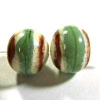 Handmade Lampwork Glass Beads, Southwest Ivory Green Light Brown Shiny