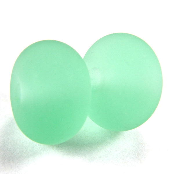 Handmade Lampwork Glass Beads, Pale Emerald Green Etched Matte 031e