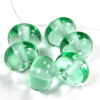 Handmade Lampwork Glass Beads, Pale Emerald Green Shiny Glossy 031g