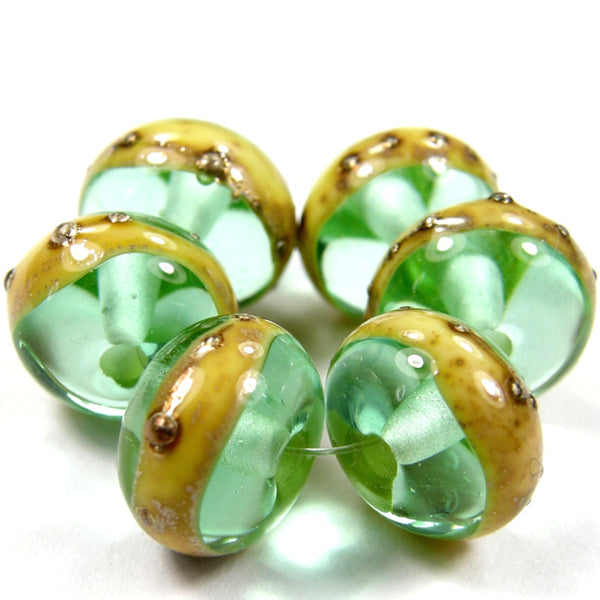 Handmade Lampwork Glass Band Beads, Pale Emerald Green Ivory Silver Shiny