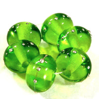 Handmade Lampwork Glass Beads, Dark Grass Green, Silver, Shiny 024gfs