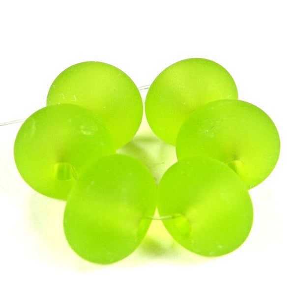 Handmade Lampwork Glass Beads, Light Grass Green Etched 020e