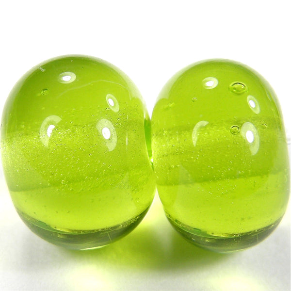Handmade Lampwork Glass Beads, Light Grass Green Shiny Glossy 020g