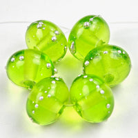 Handmade Lampwork Glass Beads, Light Grass Green Silver Shiny 020gfs
