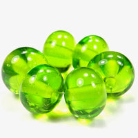Handmade Lampwork Glass Beads, Medium Grass Green Shiny Glossy 022g