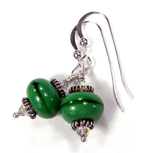 Everywhere Green Lampwork and Swarovski Dangle Earrings Sterling Handmade
