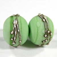 Handmade Lampwork Glass Beads, Grasshopper Green Silver Etched 213efs
