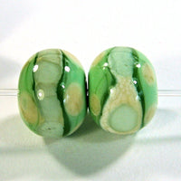 Handmade Lampwork Glass Bead Pair, Grasshopper Green Ivory Band Dots Shiny