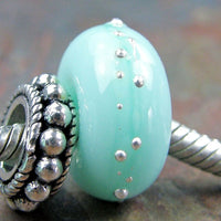 Handmade Large Hole Lampwork Beads, Glass Charms Mint Green Kryptonite Silver