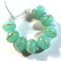 Handmade Lampwork Glass Beads, Mint Green Kryptonite Silver Shiny 1449gfs