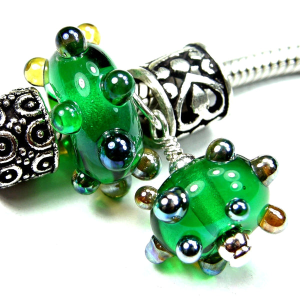 Handmade Large Hole Lampwork Beads, Glass Bracelet Charm Set, Green Metallic Dots