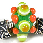 Handmade Large Hole Lampwork Beads, Euro Style Charm, Grass Green Lime Orange