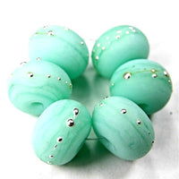 Handmade Lampwork Glass Beads, Mint Green Kryptonite Silver Etched 1449efs