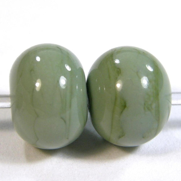 Handmade Lampwork Glass Beads, Moss Green Shiny Glossy 853g