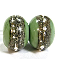 Handmade Lampwork Glass Band Beads, Moss Green Heavy Silvered Ivory Silver