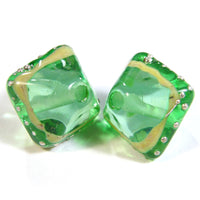 Handmade Lampwork Glass Diamond Beads, Pale Emerald Green Ivory Silver