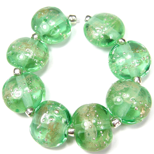 Handmade Lampwork Glass Lentil Bead Set, Light Emerald Green Silver Leaf Silver Shiny