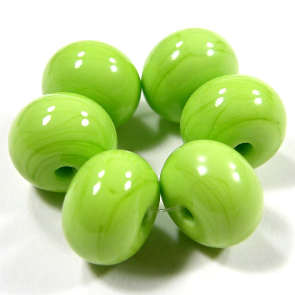 Handmade Lampwork Glass Beads, Lime Green Shiny Glossy 212g