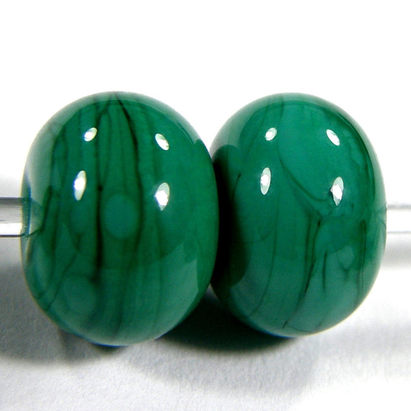 Handmade Lampwork Glass Beads, Petroleum Green Shiny Glossy 218g