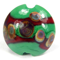 Handmade Lampwork Glass Lentil Bead, Rust Grass Green Raku Shiny
