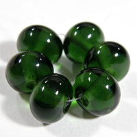 Handmade Lampwork Glass Beads, Transparent Sage Green Shiny Glossy 019g
