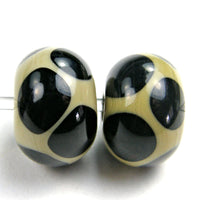 Handmade Lampwork Glass Dot Beads, Sage Green Black Shiny
