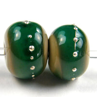Handmade Lampwork Glass Band Beads, Sage Green Teal Brown Silver