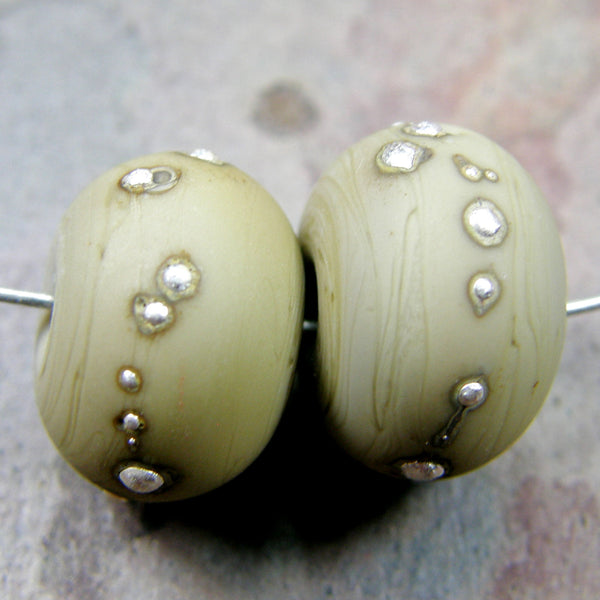 Handmade Lampwork Glass Beads, Opaque Sage Green Silver Etched 211efs