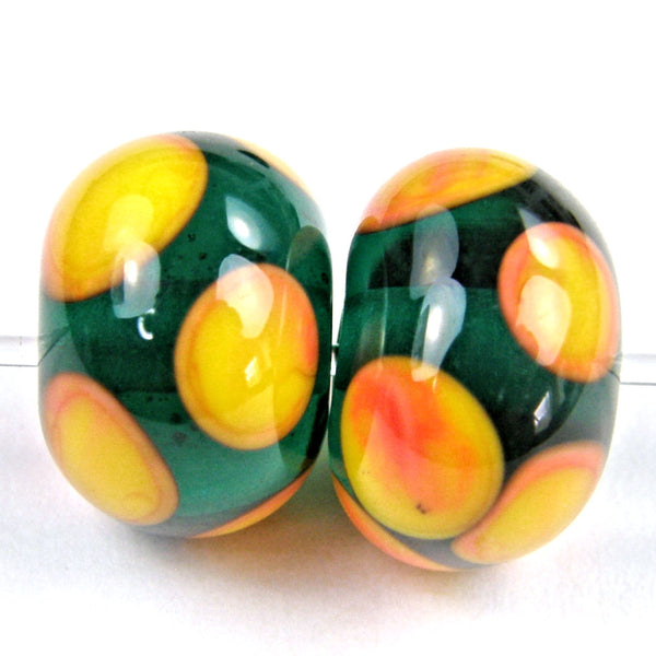 Handmade Lampwork Glass Dot Beads, Dark Teal Apricot Orange Shiny