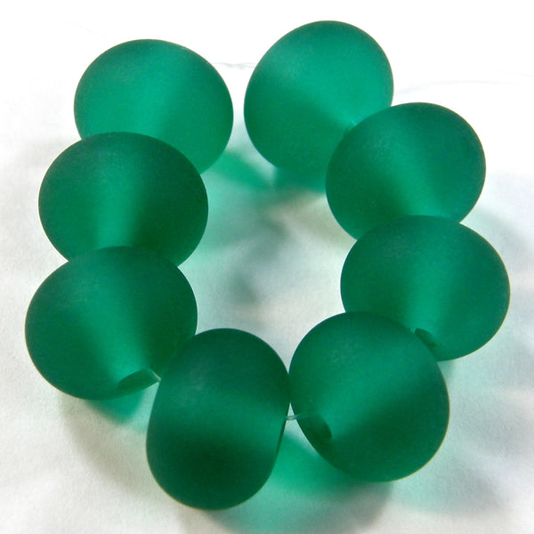 Handmade Lampwork Glass Beads, Light Teal Green Etched Matte 026e