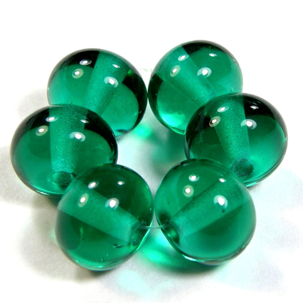 Handmade Lampwork Glass Beads, Light Teal Green Shiny Glossy 026g