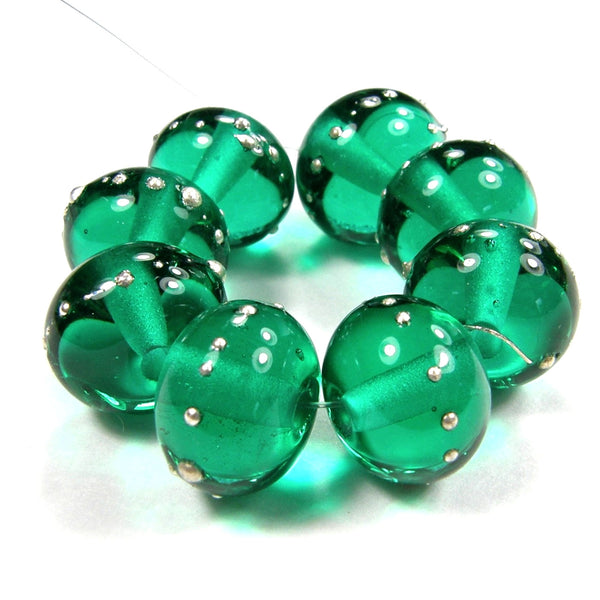 Handmade Lampwork Glass Beads, Light Teal Green Silver Shiny Glossy 026gfs