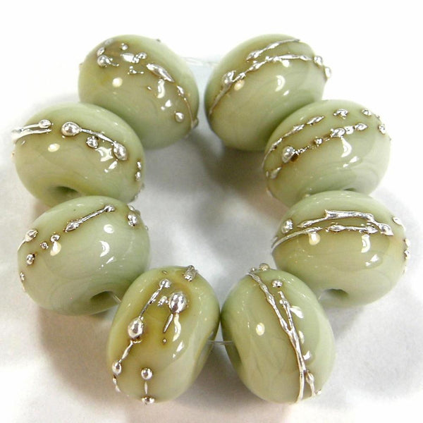 Handmade Lampwork Glass Beads, Pale Olive Green, Silver, Shiny, Glossy 1448gfs