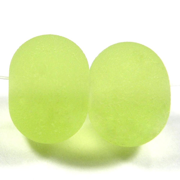 Handmade Lampwork Glass Beads, Yellow Green, Etched, Matte 071e