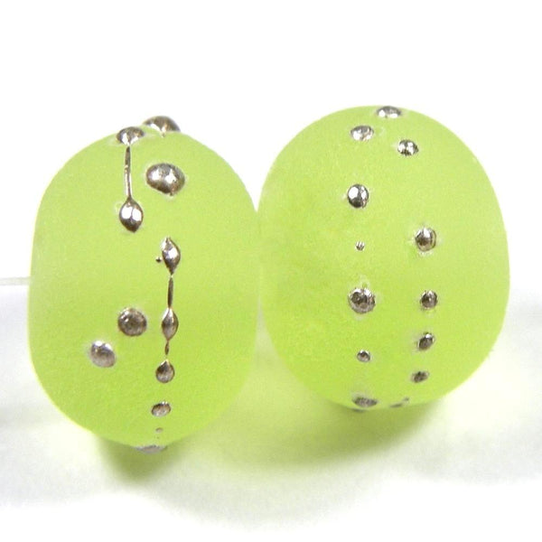 Handmade Lampwork Glass Beads, Yellow Green, Silver, Etched 071efs