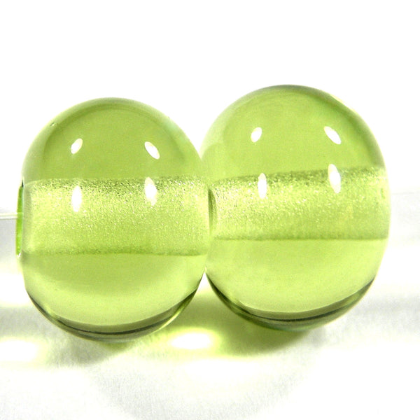 Handmade Lampwork Glass Beads, Yellow Green Shiny Glossy 071g