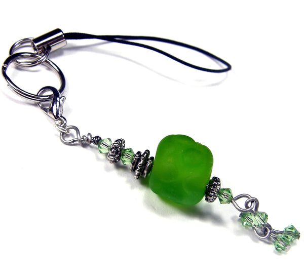 Green Nugget Lampwork Cellphone Charm, Purse Charm, Backpack Charm