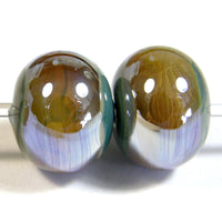 Handmade Lampwork Glass Band Beads, Grigio Verde Gray Green Aurae Shiny