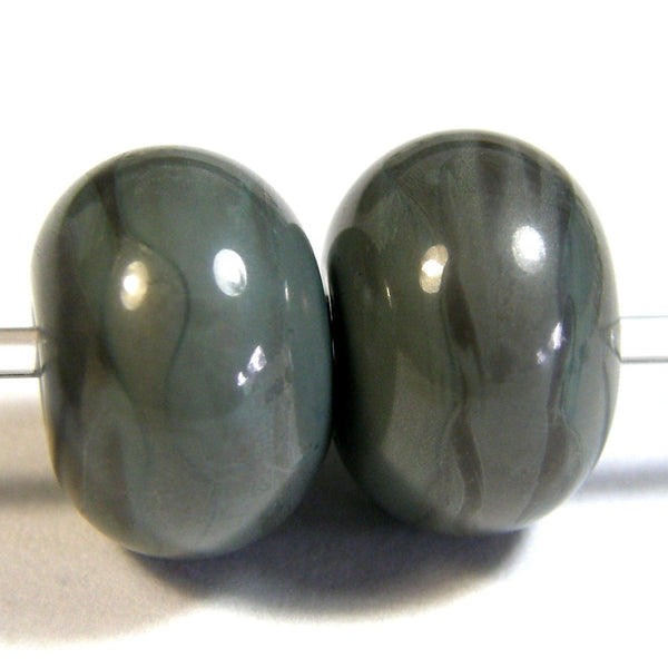 Handmade Lampwork Glass Beads, Grigio Verde Gray Green Shiny Glossy 855g