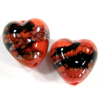 Handmade Lampwork Glass Heart Beads, Coral Orange With Black Webs