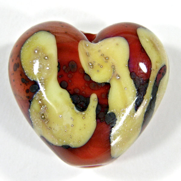 Handmade Lampwork Glass Heart Beads, Coral Orange Rustic Silvered Ivory Trails