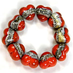 Handmade Lampwork Glass Heart Beads, Coral Orange Silvered Ivory Silver Webs