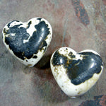 Handmade Lampwork Glass Heart Beads, Rustic Ivory and Copper