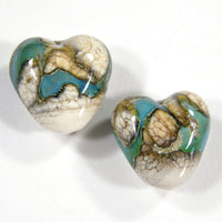 Handmade Lampwork Glass Heart Beads, Gaia Trails on Ivory