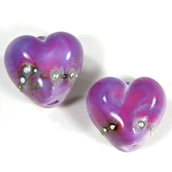 Handmade Lampwork Glass Heart Beads, Premium Purple Wrapped in Fine Silver