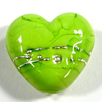 Handmade Lampwork Glass Heart Beads, Lime Green Wrapped in Fine Silver, Shiny