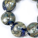 Handmade Lampwork Glass Lentil Bead Set, Intense Blue Silver Leaf Silvered Ivory