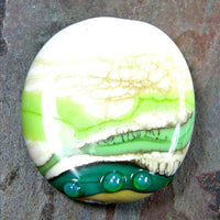 Handmade Lampwork Glass Focal Bead, Ivory Nile Green Lime Dots Shiny